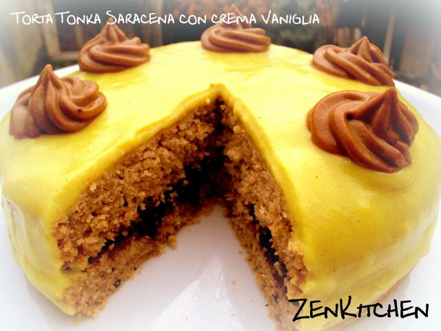 torta tonka saracena con copertura alla vaniglia