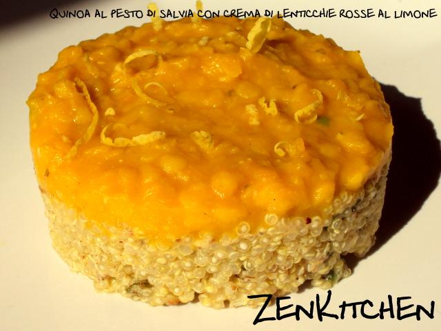 quinoa alle pesto di salvia e nocciole sotto un tetto di lenticchie rosse