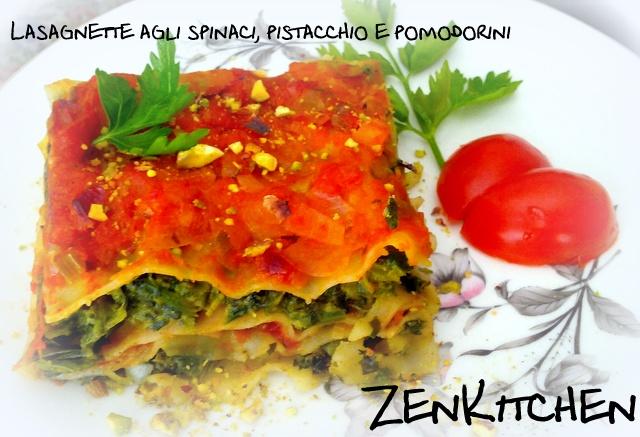 Lasagne agli spinaci, pistacchi e pomodorini