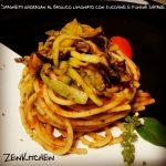 Spaghetti al basilico limoncino con zucchine e shiratake