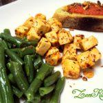 Tofu alla pizzaiola con fagiolini menta, basilico e acidulato di umeboshi