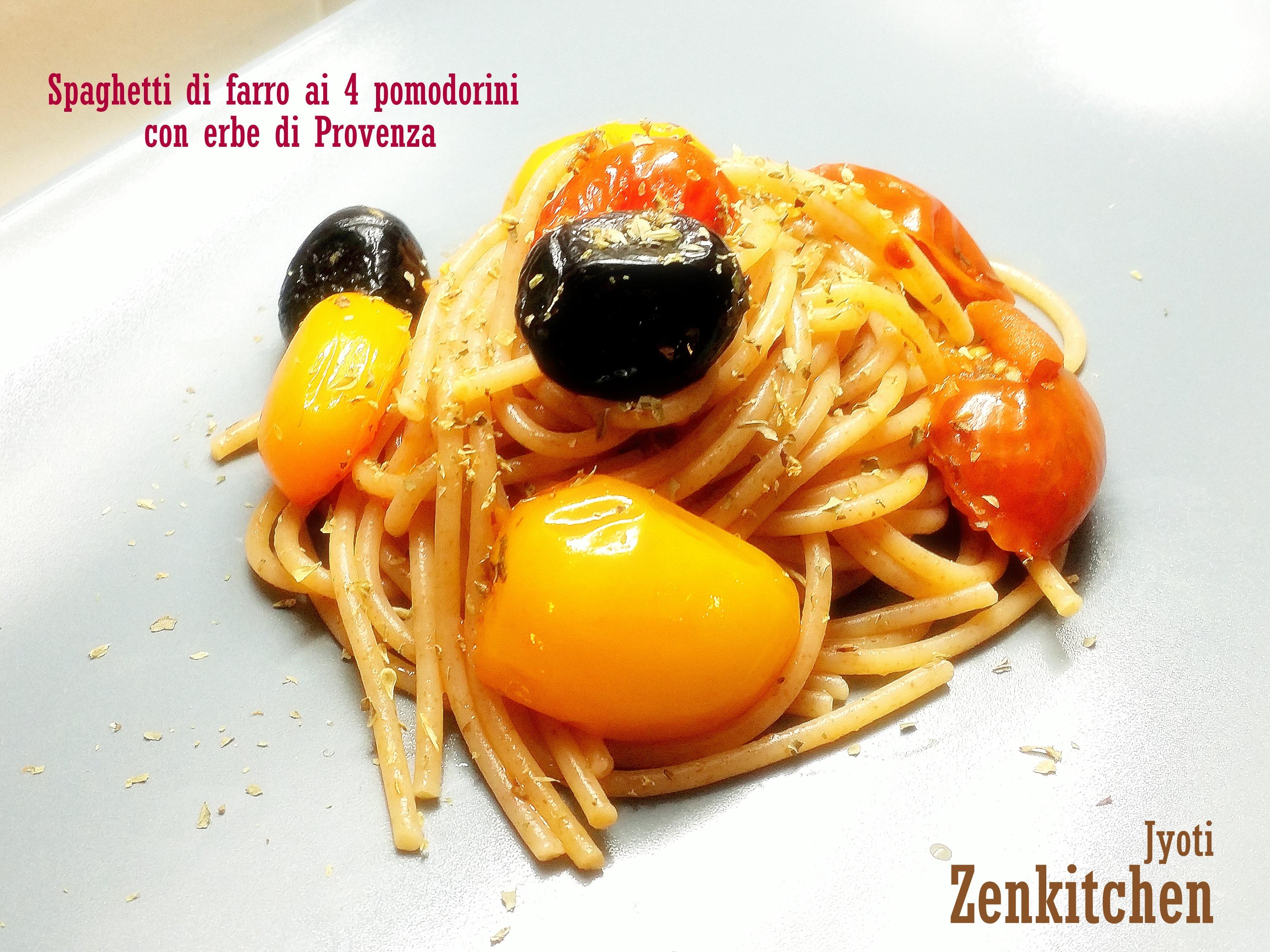 Spaghetti di farro ai 4 pomodorini e erbe di provenza
