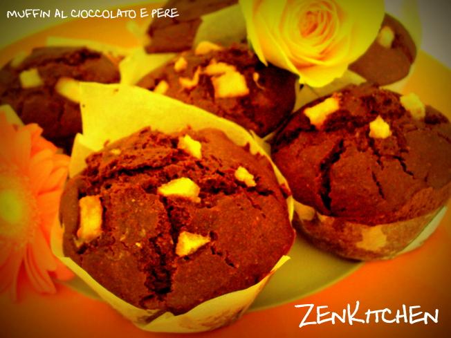 Muffin al cioccolato, pere e zenzero