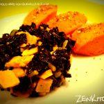 Seitan al cavolo nero e limone con quenelle di zucca