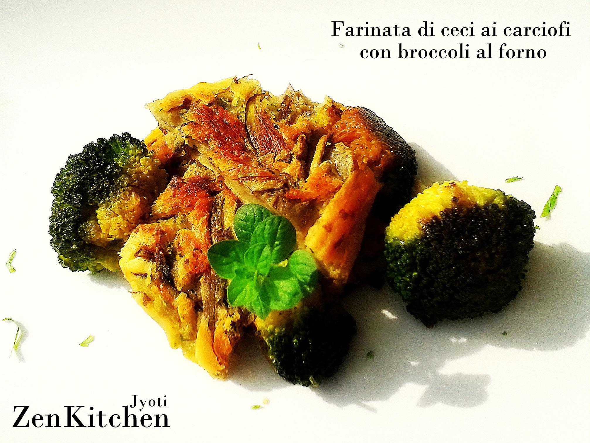 Ceciata ai carciofi con broccoli al forno