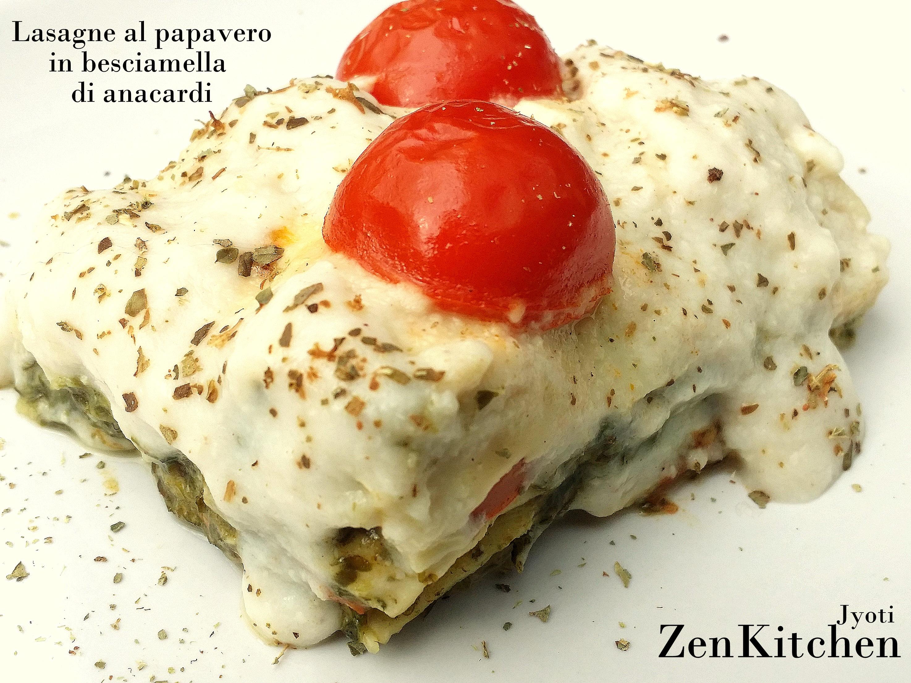 Lasagnette al papavero in besciamella di anacardi